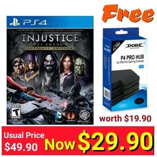 PS4 Injustice: Gods Among Us Ultimate Edition. Usual Price: $69.90. Special $29.90 + Free mail postage  (Brand New in Box and Sealed) Free PS4 USB Extension port worth $19.90 Last piece left