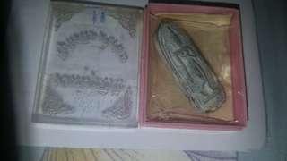 Lp pae Bailan phra leela phim yai with original temple box and paper