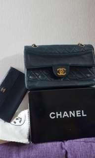 Chanel Vintage Bag with coins pouch Navy blue 復古手袋配散紙包