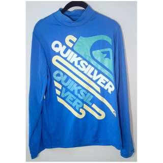 Quiksilver Blue Rashie Rash Vest Shirt Long Sleeve Surf Med