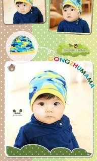 🚚 迷彩藍或粉紅 嬰兒 寶寶帽 雙層配色