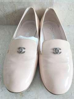 Chanel pink patent flats with pearls