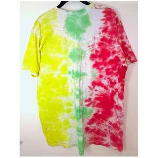 CALVIN KLEIN Rainbow Tie Dye Cotton T-Shirt Size L