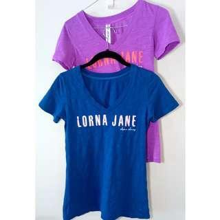 Lorna Jane 2x T Shirt Bundle Blue and Purple w. Logos   Size XS