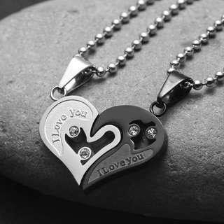 Matching Couple Heart Pendant Necklace Boyfriend Girlfriend Necklace
