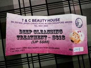 Voucher for deep cleansing treatment at T&C beauty house