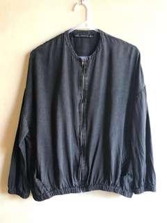 Zara trafaluc denim wear chambray bomber jacket