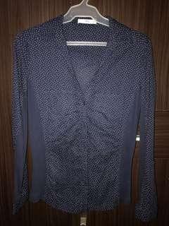 Blue, polka dot, long-sleeved blouse