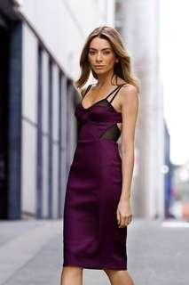 Bec & Bridge sexy bustier pencil dress mesh maroon plum purple backless