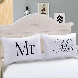 Mr and Mrs Print Couple Matching Cute Pillow Cases
