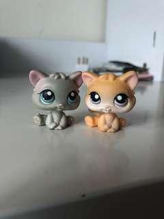LITTLEST PET SHOP LPS SET OF KITTENS YELLOW AND GREY