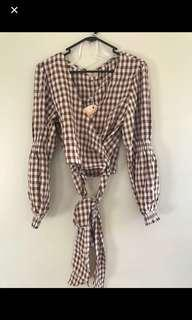 NEW checkered wrap around top