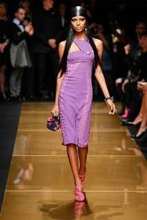 Versace x H&M Purple Halter Dress with Gold Buttons