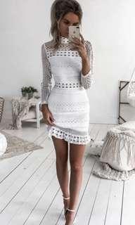 White long sleeve crochet dress
