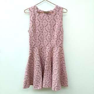 🚚 EYESCREAM粉紅色蕾絲無袖洋裝