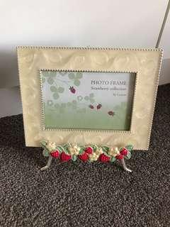 Photo frame on stand with Strawberry and flower deco