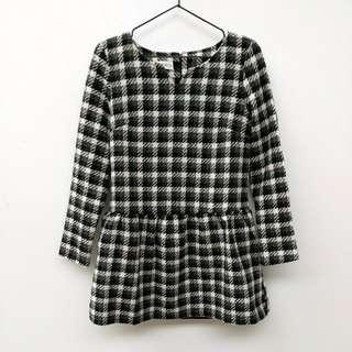 🚚 黑白格紋長袖洋裝