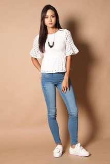 Jen Eyelet Peplum Top in White (Size S)
