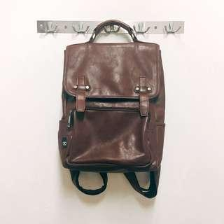 Brown Leather Backpack #Single11