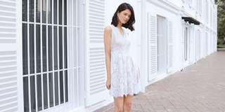 Aurelia Lace Dress in White (Size S)