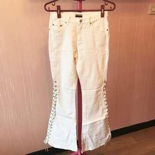 Mademoiselle white laced up denim jeans