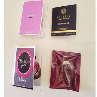 Designer Sample Perfumes x 4. Dior, Chanel, Versace, Jimmy Choo. New.