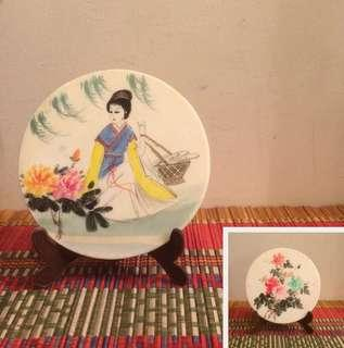 Chinese marble painting on both sides ancient lady, peonies