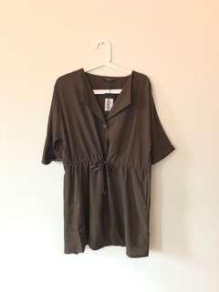 Khaki Basic Shirt Dress with Drawstring