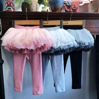 Winter leggings with tutu tulle skirt