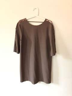 Khaki Lace Insert Dress