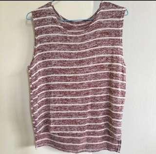 🚚 Striped maroon sleeveless knit top