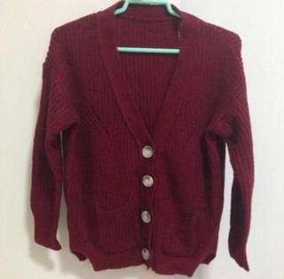 🚚 Maroon Knitted Cardigan
