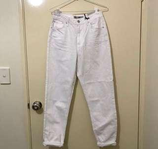 Topshop white mom jeans