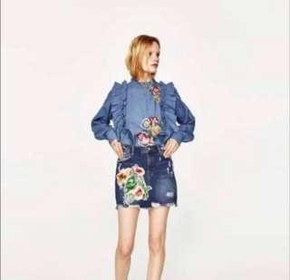 Blue Frill blouse Zara