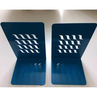 2 blue metal book-ends