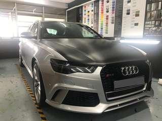 Audi RS6 full wrap 3M gloss white aluminum