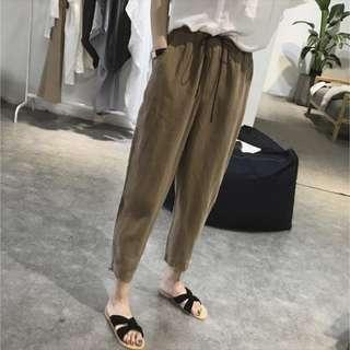 🚚 墨綠色哈倫褲棉麻褲(大尺碼)✅