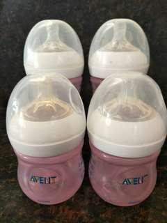 Avent Natural Bottles PINK (4pcs)