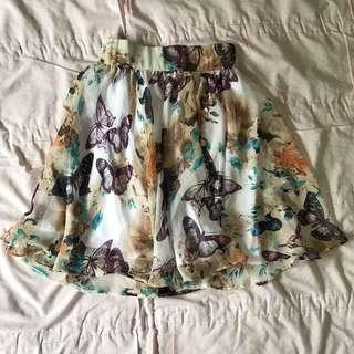 Floral butterfly chiffon skirt