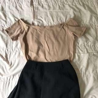 Dusty salmon pink off shoulder top