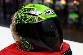 Nhk Karel Abraham Green Flourecent Special Edition R1 Double Visor Helmet