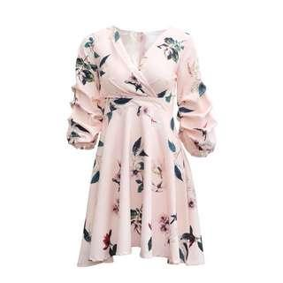 BNWT Puffy Sleeves Floral Dress (White)