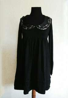 Black Babydoll Knitted Dress with Embellished Silk Collar