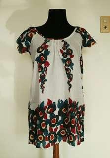 NAF NAF Floral Mini Dress / Long Top with Flutter Sleeves, Back Ties