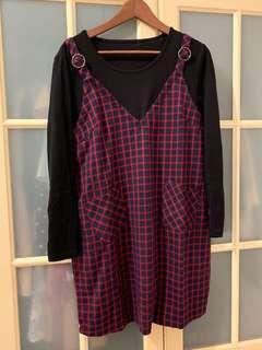 🚚 紅格子假兩件吊帶洋裝(大尺碼)