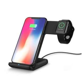 2 in 1 Fast Charging Wireless Charger Stations for Apple Watch / iPhone X / 8 Plus