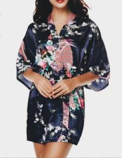 Midnight Navy Blue Floral Robes