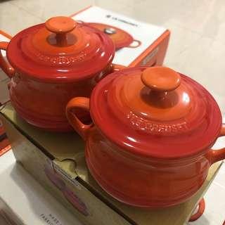 Le Creuset Set of soup bowls flame colour