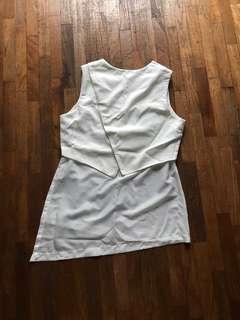 White asymmetrical top two layer sleeveless
