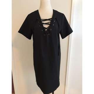 Lace Up Black Shift Dress